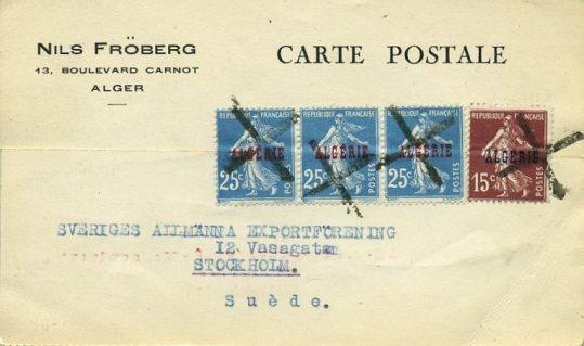 Algerie-CPE-oblitération-de-fortune-1926