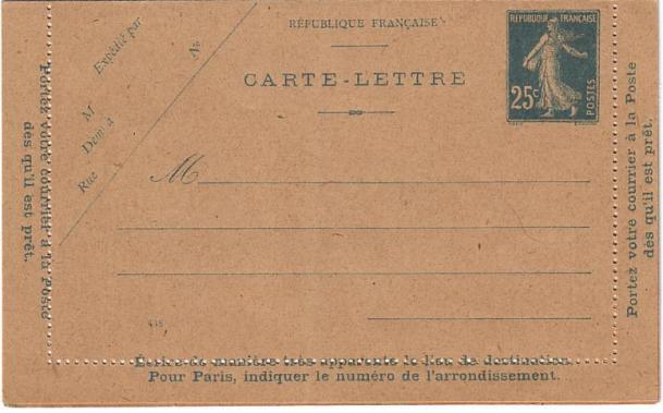 Carte Lettre Type IIIA (448)