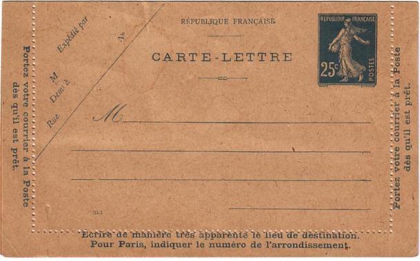 Carte Lettre Type IV (353)