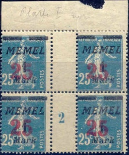 Surch-Memel-n°83-mill-2-bloc-de-4