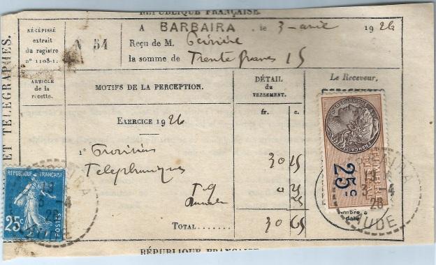 récépissé 1926