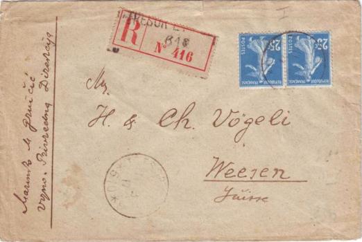 Semeuse n°140 sur lettre rec T&P 510 (1917)