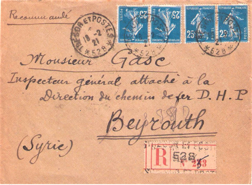 smyrne février 1921 1,00 fr